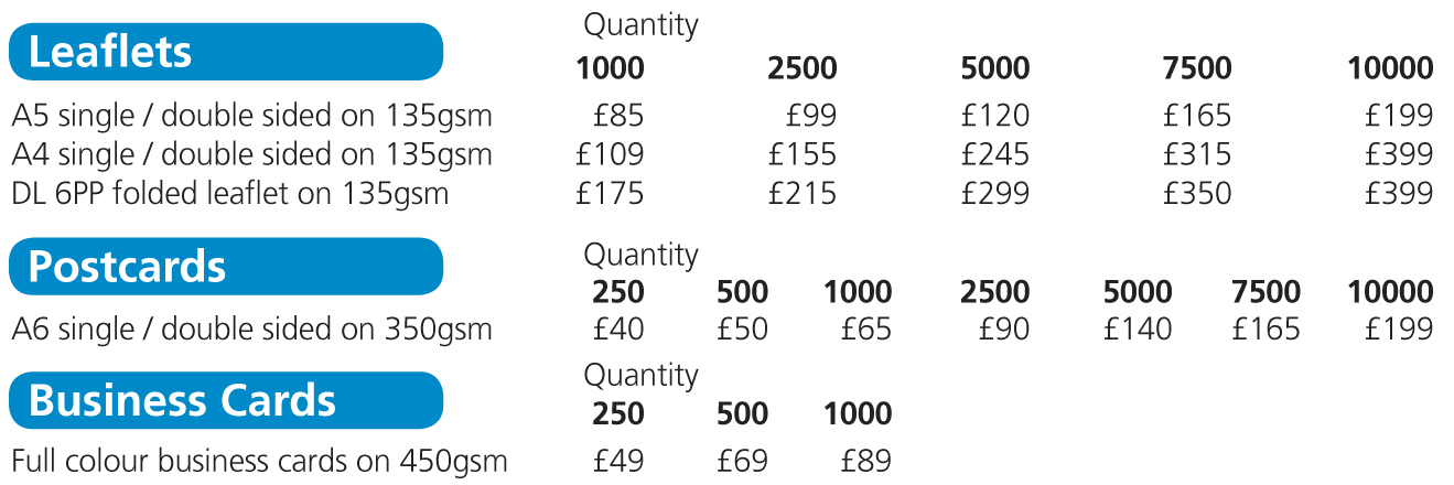 Focus magazine group printing here is some pricing of common business cards and leaflets quantities we regularly supply reheart Images